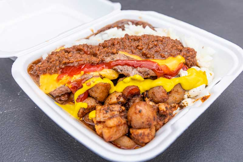 Image of a garbage plate by Maximilian's Catering
